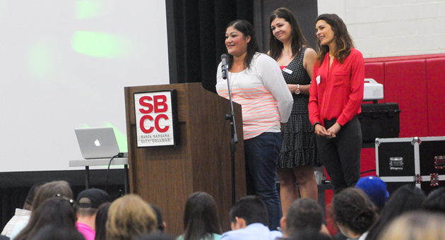 <p>Students in SBCC&#8217;s Express to Success Program speak to incoming students during a breakfast held Friday in the college&#8217;s gym.</p>