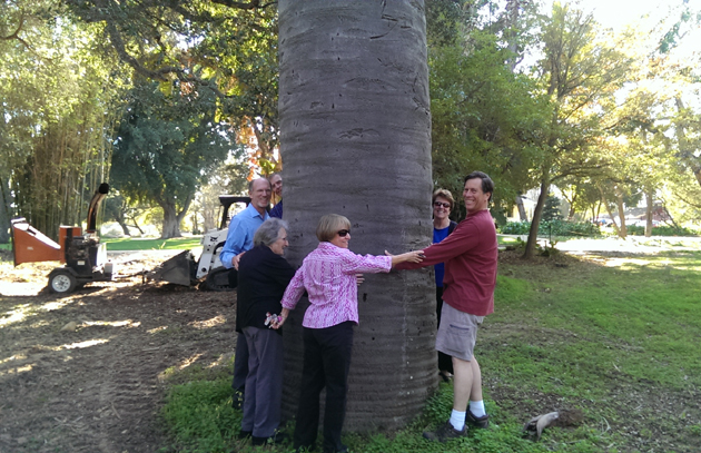 <p>Members of the Goleta Valley Board of Directors celebrate new funding of the Arboretum Restoration Project at Rancho La Patera.</p>