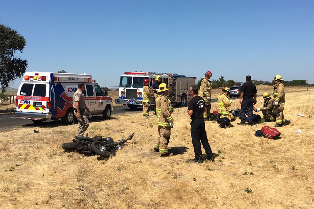 Two people were injured Saturday in a collision involving a motorcycle and a small SUV on Highway 154 near the Highway 246 roundabout in the Santa Ynez Valley.