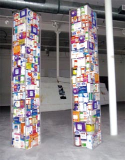 The Pause Towers, a Twin Towers plexiglass sculpture filled with prescription bottles and medical packaging from 10 years of treatments for survivors of the 9/11 attacks.