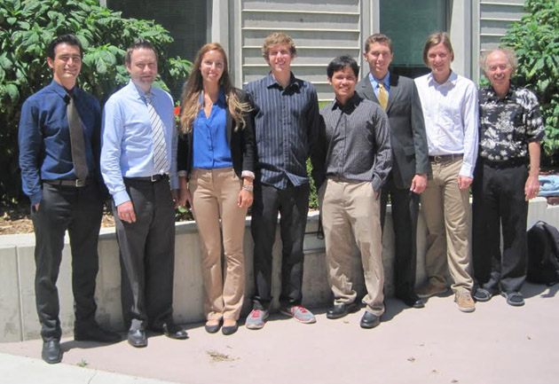 <p>INSET program participants, from left, Adrian Marquez, chemical engineering major; Dr. Jens-Uwe Kuhn, SBCC assistant professor of chemistry; Jacey Van Wert, biology major; Dylan Beard, physics major; Lester Dela Cruz, computer engineering major; Lennon Ganz, computer science major, Nicholas Pfister, physics major; and Dr. Nick Arnold, professor of physics and engineering.</p>