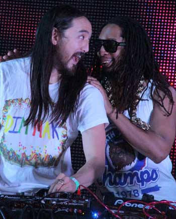 Master DJ Steve Aoki, left, and rapper Lil Jon collaborate at the Sunset Strip Music Festival.