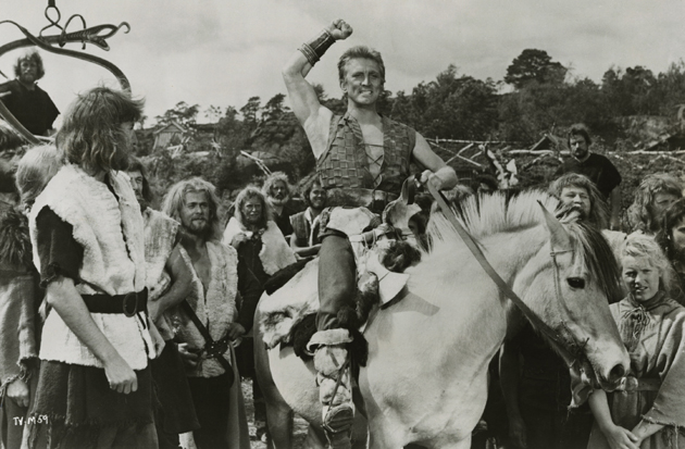 The Vikings, starring Kirk Douglas, is one of seven films featuring the Oscar winner that will be screened as part of a seven-date UCSB Arts & Lectures series titled Kirk Douglas on Film. (Margaret Herrick Library photo)