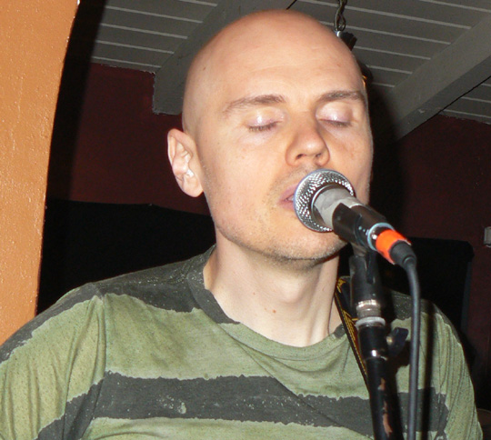 Billy Corgan delivers an impassioned performance with the band The Spirits in the Sky at Muddy Waters Cafe in Santa Barbara on Thursday.