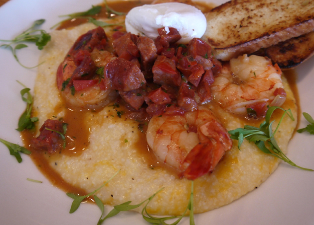 Grits and sausage are part of Scratch Kitchen's Sunday brunch a la carte menu.