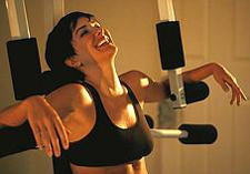 She's laughing because chest presses are so fun!