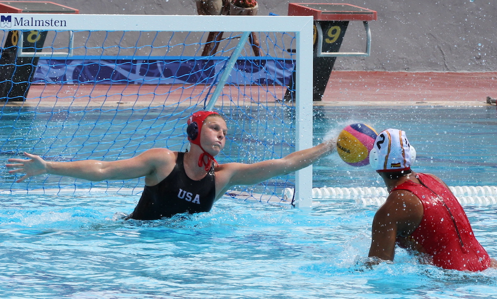 Amanda Longan of Team USA and the 805 Santa Barbara Water Polo Club, blocks a Spain penalty shot in the final three seconds of a group-play game at the FINA Women's Water Polo Junior World Championship in Volos, Greece. The teams played to a 9-9 tie.