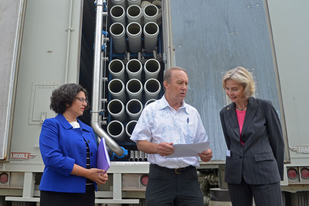Santa Barbara Mayor Helene Schneider, left, public works project manager Bob Roebuck and Rep. Lois Capps tour the city's desalination plant, which officials hope to have reactiviated by October 2016.