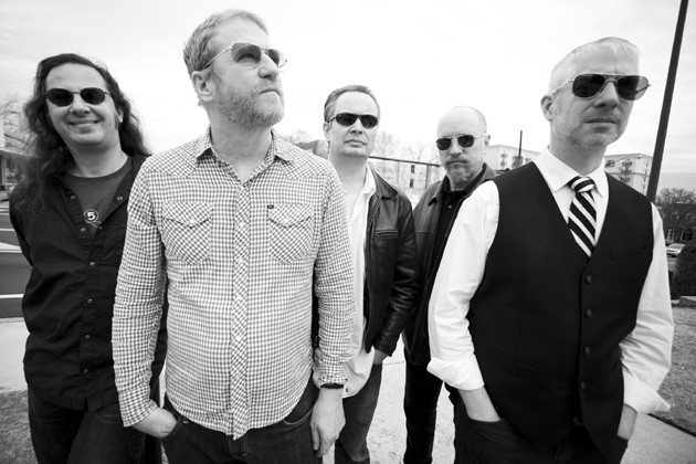 Camper Van Beethoven, consisting of, from left to right, Jonathan Segel, David Lowery, Greg Lisher, Frank Funaro and Victor Krummenacher, will perform next Monday night at Zoey's Cafe in Ventura. (Jason Thrasher photo)