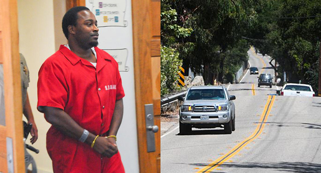 <p>Lanie Tyrone Richardson has pleaded not guilty to felony charges stemming from the &#8220;car surfing&#8221; death of Allison Meadows in June. She was fatally injured along a section of East Valley Road in Montecito, above, known as &#8220;The Bump.&#8221;</p>