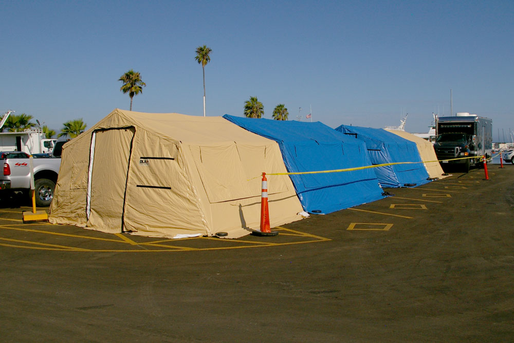 Tents have been erected at the Santa Barbara Harbor to serve as the incident command post for the recovery and investigation into the fire and sinking of the dive boat Conception.