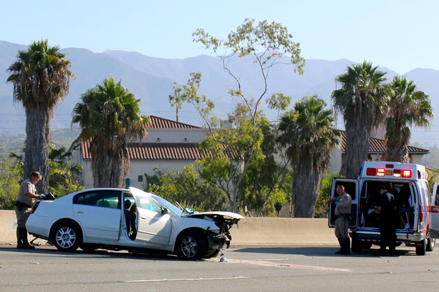A woman was taken to the hospital Sunday following a single-vehicle wreck on Highway 101 near Garden Street in Santa Barbara.