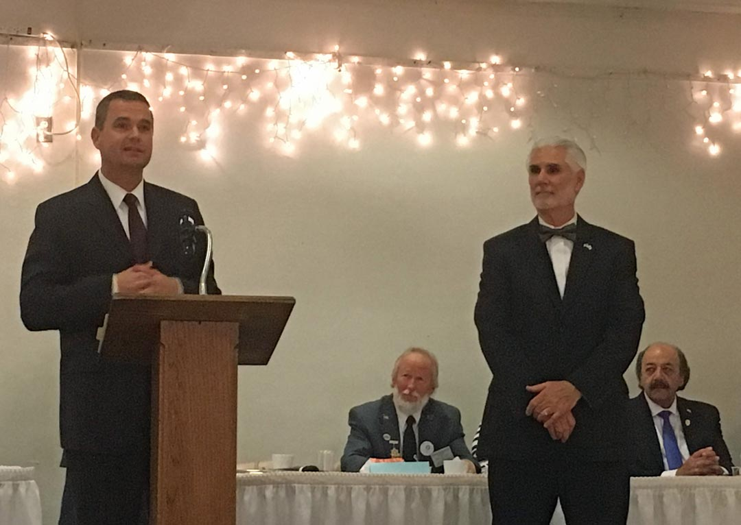 Dave Saunders, left, chief investigator for the Santa Barbara County District Attorney's Office, speaks about the agency's top employee, Investigator Gerald Motter.