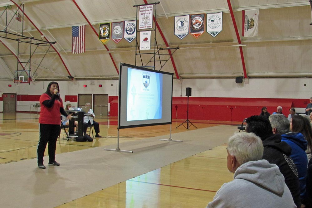 Cynthia Gudino talks abou the need for more soccer facilities in the Santa Maria Valley during a meeting Wednesday night at Santa Maria High School.