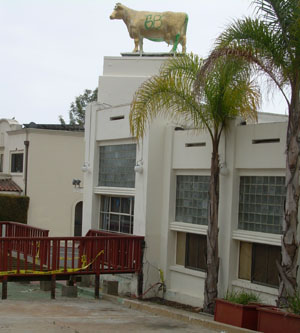 A cow statue, whose color keeps changing, sits atop the former BBQ restaurant at the corner of Milpas and  Canon Perdido streets.