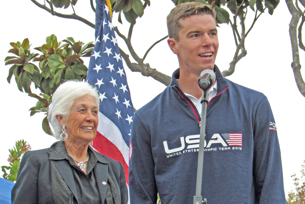 Olympic silver medalist Josh Prenot was celebrated Friday night in Santa Maria, where he grew up and began his swimming career.