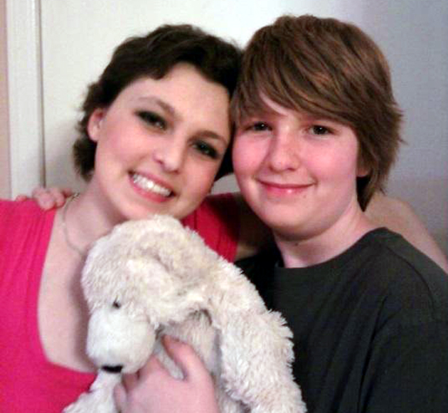 <p>Nathan Cofield, right, saved his sister Maddi&#8217;s life with his bone marrow. Bear, a gift from the Teddy Bear Cancer Foundation, has been with Maddi through every step of her cancer journey.</p>