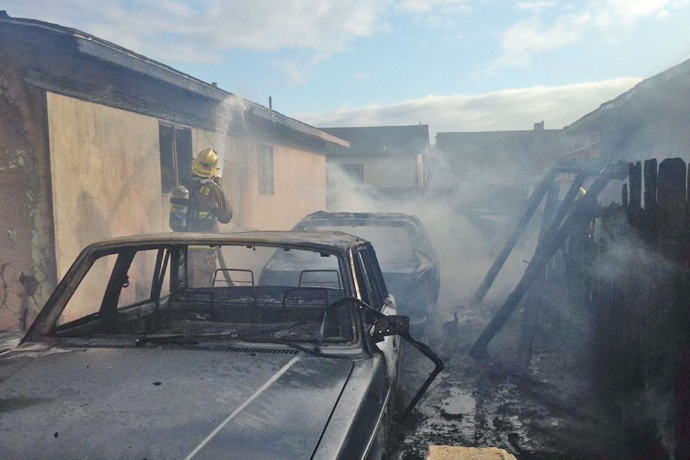 It took firefighters about 30 minutes to knock down a vehicle fire that broke out Monday afternoon in the carport of a Goleta home.