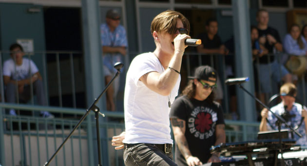 Katy Perry's younger brother, David Hudson, and his band put an exclamation point on lunch period during their campus concert at Dos Pueblos High School. (Brett Williams photo)
