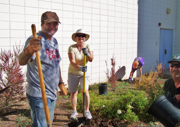Rotary Club of Goleta members, from left, Bob Grasa, Laurie Clayton and Mike Parsons get to work planting, raking and weeding at Goleta Valley Junior High School on Saturday as part of United Way's Day of Caring. (Rotary Club of Goleta photo)
