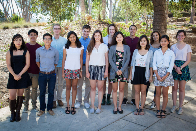 <p>From top left, seniors Harrison Louie, Nick Burns, Andrew Smith, Anna Lueck, Mohamad Batal, Erika Noble, Lacy Douglas; from bottom left, Rachel Pak, Hyesan Lee, Emily Brahma, Sydney Luca-Lion, Monica Wang, Christiana Choi and Jean Shen have been recognized by the 2013-14 National Merit Scholarship Program.</p>