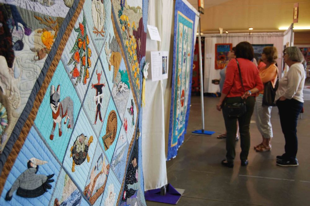 """Museum Impressions"" by the Coastal Quilters Guild of Santa Barbara and Goleta. In 1991, the members presented the 92-inch-by-92-inch quilt to the Santa Barbara Museum of Natural History to mark its 75th anniversary."