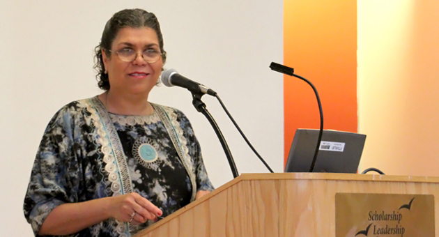 <p>Dr. Claudine Michel, director of the UCSB Office of International Students and Scholars and assistant vice chancellor for Academic Affairs, welcomes attendees to a half-day workshop focused on a variety of issues surrounding the international community.</p>
