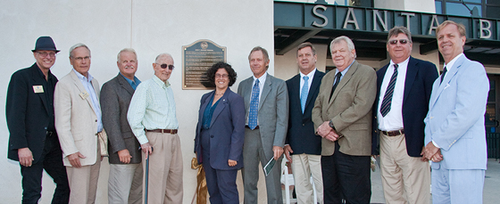 <p>Santa Barbara Mayor Helene Schneider, center, unveils the dedication plaque for the new John T. Rickard Terminal at the Santa Barbara Airport on Monday with the help of Rickard&#8217;s five sons, from right, Dennis, Thomas, James, John and Robert. Former City Councilman Anthony Gunterman, to the left of Schneider, worked with Judge Rickard. Also attending the ceremony were City Councilmen, from left, Grant House, Bendy White and Randy Rowse.</p>