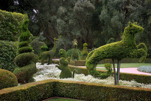 <p>The historic Topiary Garden at Ganna Walska Lotusland features numerous large topiaries clipped as fanciful animals and geometric forms.</p>