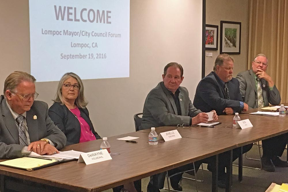 Candidates for Lompoc mayor and City Council gathered for a forum on Monday night. Pictured are Councilman De Wayne Holmdahl, challenger Jenelle Osborne, Mayor Bob Lingl, Councilman Jim Mosby and former mayor John Linn.