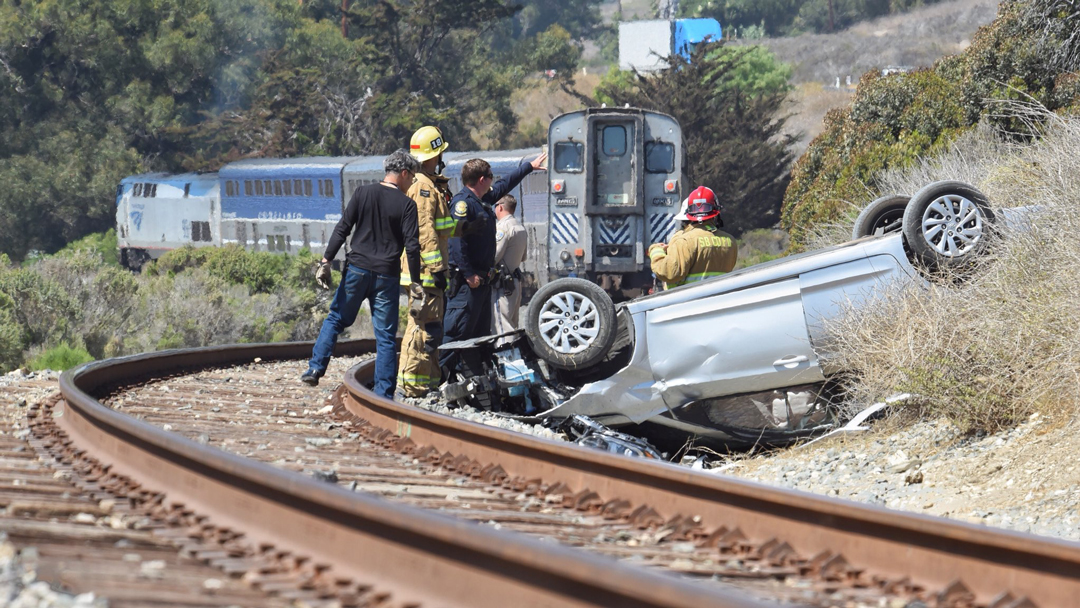 amtrak train hits overturned vehicle on tracks near refugio state