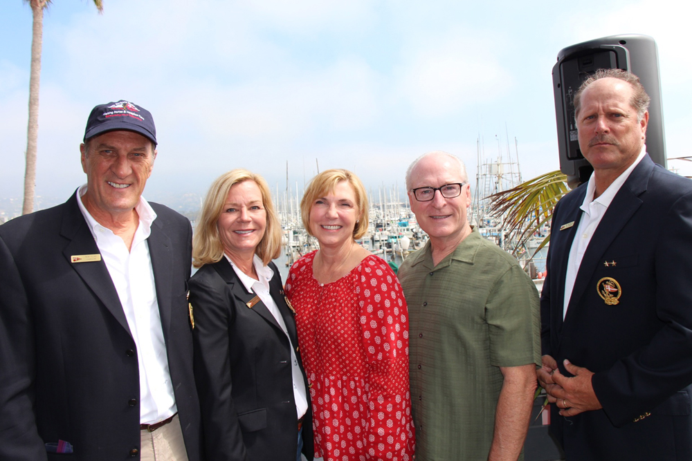 "From left, Bob Young, commodore; Francie Lufkin, staff commodore and Santa Barbara Yacht Club charity regatta committee chair; Lynda Tanner, Visiting Nurse & Hospice Care president and CEO; Rick Keith, executive director of foundation for VNHC; and Bill Guilfoyle, rear commodore, at the 12th annual ""Yachts of Love"" Charity Regatta on Sept. 10 at the Yacht Club to benefit VNHC."