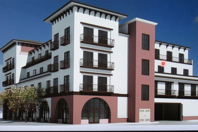 A concept drawing shows the proposed four-story, mixed-use building proposed for a key corner in downtown Santa Maria. After gaining the Santa Maria Planning Commission's approval the project heads to the City Council next month.