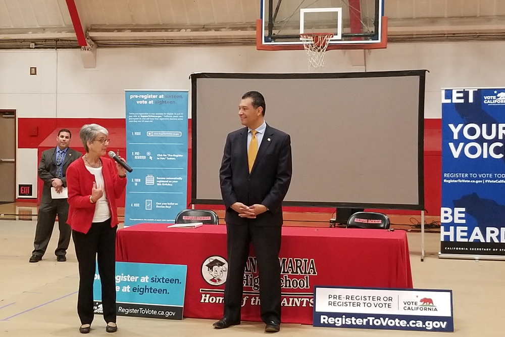 State Sen. Hannah-Beth Jackson and California Secretary of State Alex Padilla visited Santa Maria High School Wednesday morning to talk about voter preregistration, in which students can sign up to vote at 16 or 17 years old and the registration automatically activates once they turn 18.