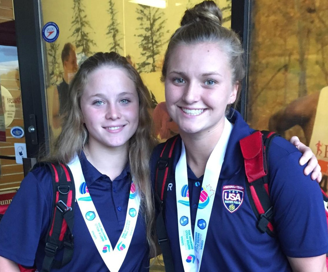 Sophie Leggett, left, and Grace Raisin of the 805 Santa Barbara Water Polo Club won silver medals competing for Team USA at the Junior Pan American Games in Canada.