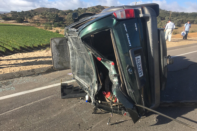 One person was injured in a three-vehicle crash on Highway 246 Thursday morning.