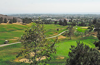 The view from Glen Annie Golf Course includes Dos Pueblos High School in the foreground and UCSB in the distance.