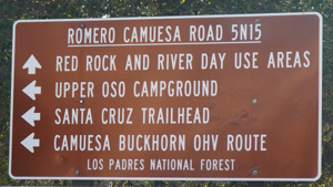 A sign greeting visitors doesn't indicate that the Santa Cruz Trail and Camuesa-Buckhorn route were closed.