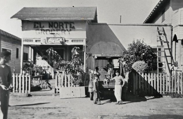 "<p>Photos such as this one of the El Norte Grocery store are featured in ""Central Coast Hispanics — 300 Years of History"" at the Eastside Library and are on loan from the Black Gold Cooperative Library System's collection.</p>"