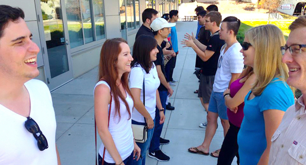 <p>New UCSB graduate students participate in an icebreaker exercise, one of many social activities offered to help them get acquainted.</p>
