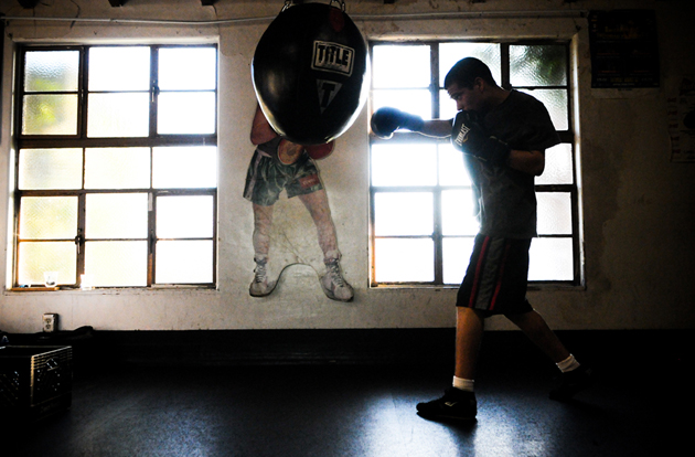Jose Velasquez, 17, gets in a training workout at Primo Boxing of Santa Barbara, facing eviction over past due rent on its city-owned building at 701 E. Haley St., where it has been for 18 years.
