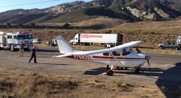 <p>No one was injured Friday afternoon when a Cessna 172 landed on Highway 101 near Gaviota. The aircraft may have run out of fuel.</p>