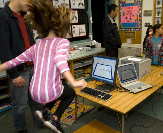 <p>Students are told to jump for 10 seconds as the equipment registers the acceleration generated by their movement.</p>