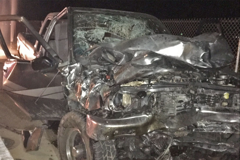 Three people were injured Tuesday night in a collision at North Blosser Road and West Taylor Street in Santa Maria.