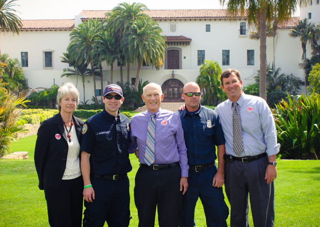 "Catherine Swysen, from left, president of the Santa Barbara County Bar Association and managing partner of the law firm Sanger, Swysen & Dunkle; James Weinstein, paramedic with American Medical Response; Santa Barbara Superior Court Judge Thomas Anderle; Brian Ricci, engineer at City of Santa Barbara Fire Station 7C; and presiding Santa Barbara Superior Court Judge Brian Hill at a recent ""Hands Only"" CPR training held at the Santa Barbara County Courthouse Sunken Gardens. More than 80 people were trained, bringing the total number of community members trained since March to about 3,000. (Santa Barbara County Hands Helping Hearts photo)"