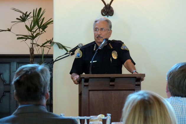 Santa Barbara Police Chief Cam Sanchez on Tuesday told hospitality industry leaders that overall crime is down, but burglaries are up. He also asked for patience in dealing with homelessness issues.
