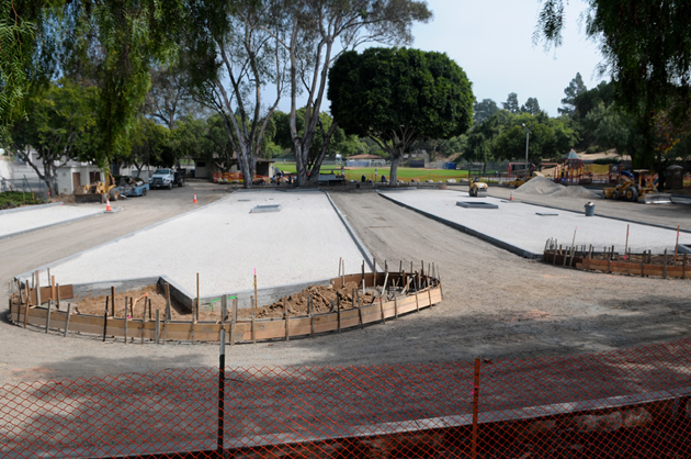 Permeable pavers installed in the parking lot of Santa Barbara's MacKenzie Park allow water to pass through into a subsurface gravel layer that doubles as a storage and infiltration area and a structural base layer.