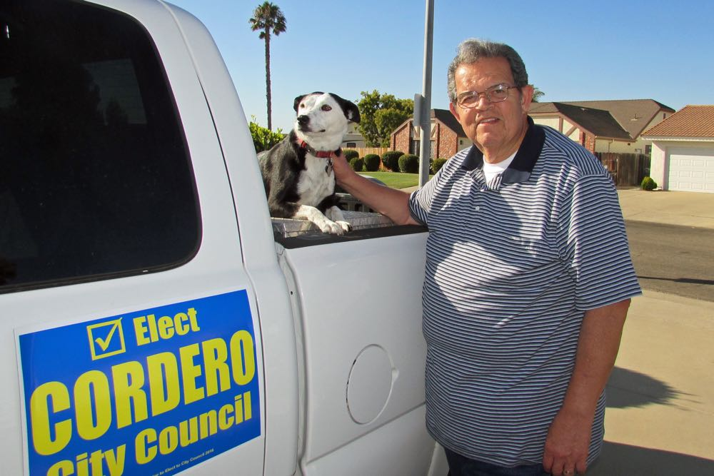 Mike Cordero, a retired police lieutenant and former Santa Maria city councilman, hopes to return to the council by winning one of two seats contested by six candidates in the Nov. 8 election. Cordero has been campaigning with his dog, Allie.