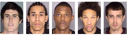From left, Colin Campbell, Darren Gales, Eric Stewart, Jaylen Stewart and Miguel Valencia are being held on felony armed robbery and criminal conspiracy charges.