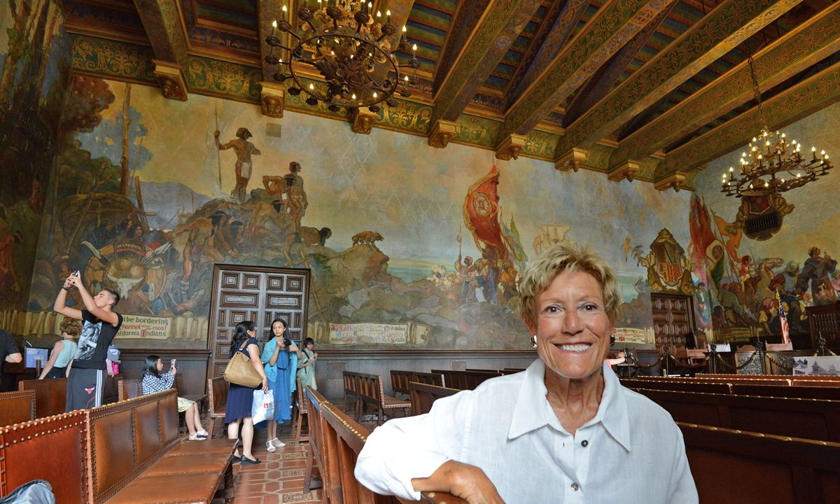 Loretta Redd, a board member of the Santa Barbara County Courthouse Legacy Foundation, never tires of talking about the Mural Room, which is a popular place for tourists and locals alike.